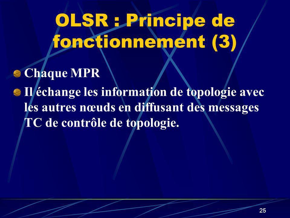 25 OLSR : Principe de fonctionnement (3) Chaque MPR Il échange les information de topologie avec les autres nœuds en diffusant des messages TC de cont