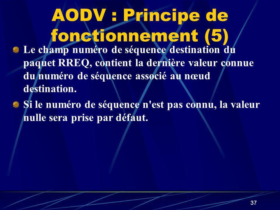 37 AODV : Principe de fonctionnement (5) Le champ numéro de séquence destination du paquet RREQ, contient la dernière valeur connue du numéro de séque