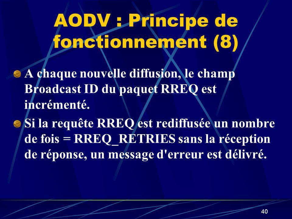 40 AODV : Principe de fonctionnement (8) A chaque nouvelle diffusion, le champ Broadcast ID du paquet RREQ est incrémenté. Si la requête RREQ est redi