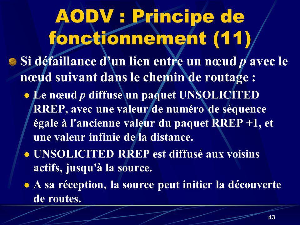 43 AODV : Principe de fonctionnement (11) Si défaillance dun lien entre un nœud p avec le nœud suivant dans le chemin de routage : Le nœud p diffuse u