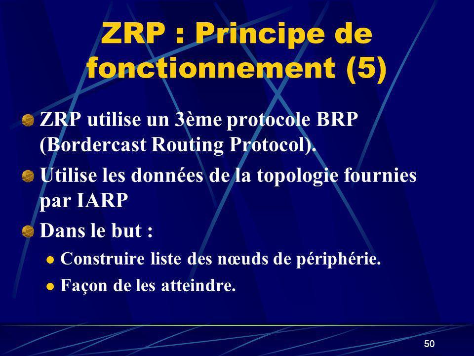 50 ZRP : Principe de fonctionnement (5) ZRP utilise un 3ème protocole BRP (Bordercast Routing Protocol). Utilise les données de la topologie fournies