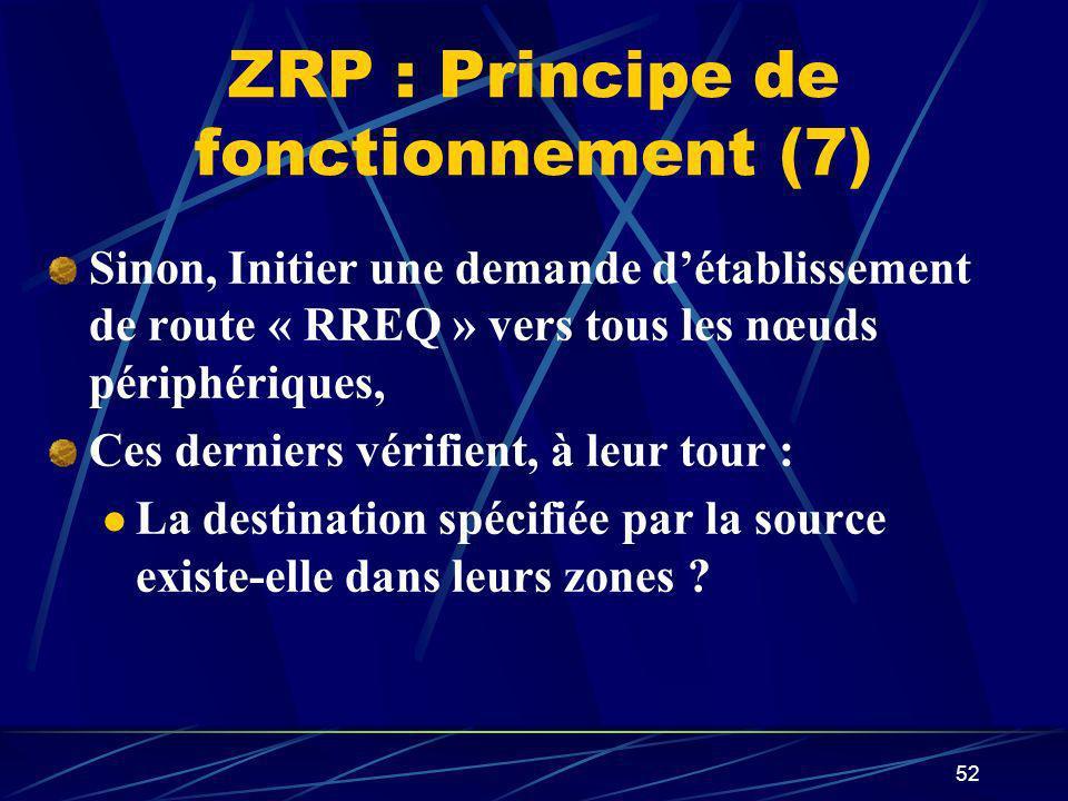 52 ZRP : Principe de fonctionnement (7) Sinon, Initier une demande détablissement de route « RREQ » vers tous les nœuds périphériques, Ces derniers vé