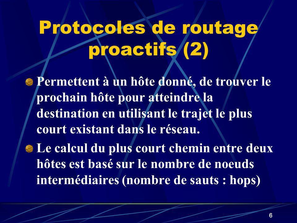 6 Protocoles de routage proactifs (2) Permettent à un hôte donné, de trouver le prochain hôte pour atteindre la destination en utilisant le trajet le