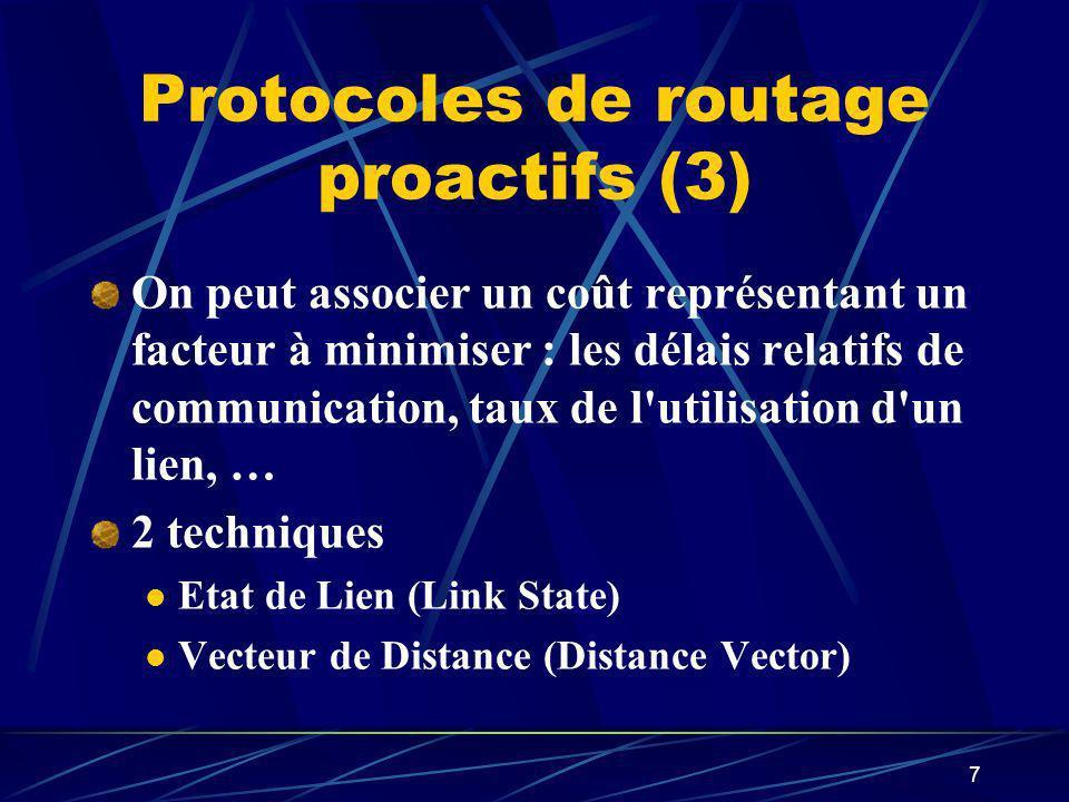 7 Protocoles de routage proactifs (3) On peut associer un coût représentant un facteur à minimiser : les délais relatifs de communication, taux de l'u