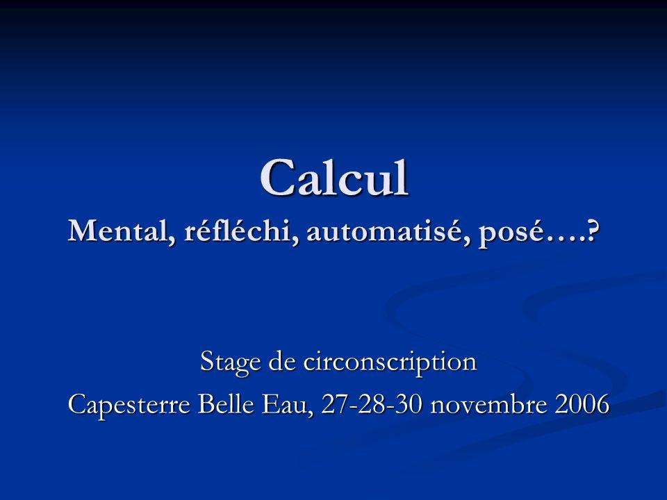 Calcul Mental, réfléchi, automatisé, posé…..