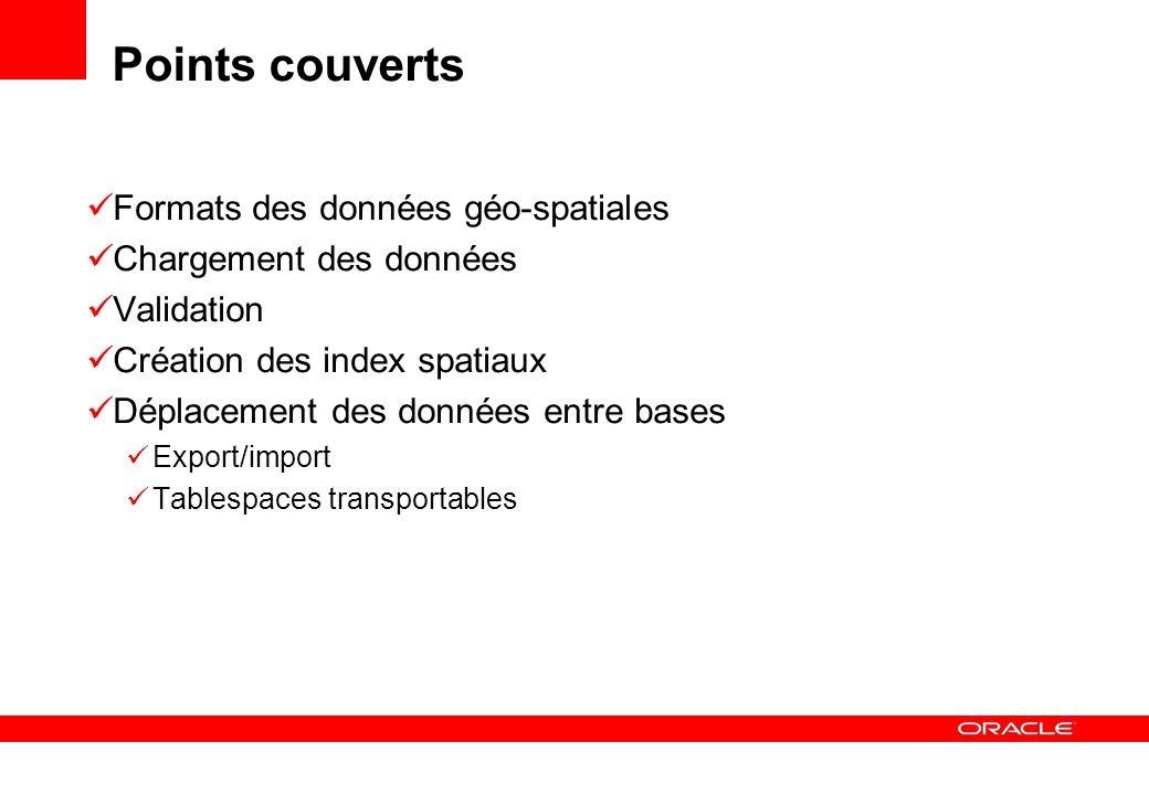 Points couverts Formats des données géo-spatiales Chargement des données Validation Création des index spatiaux Déplacement des données entre bases Ex