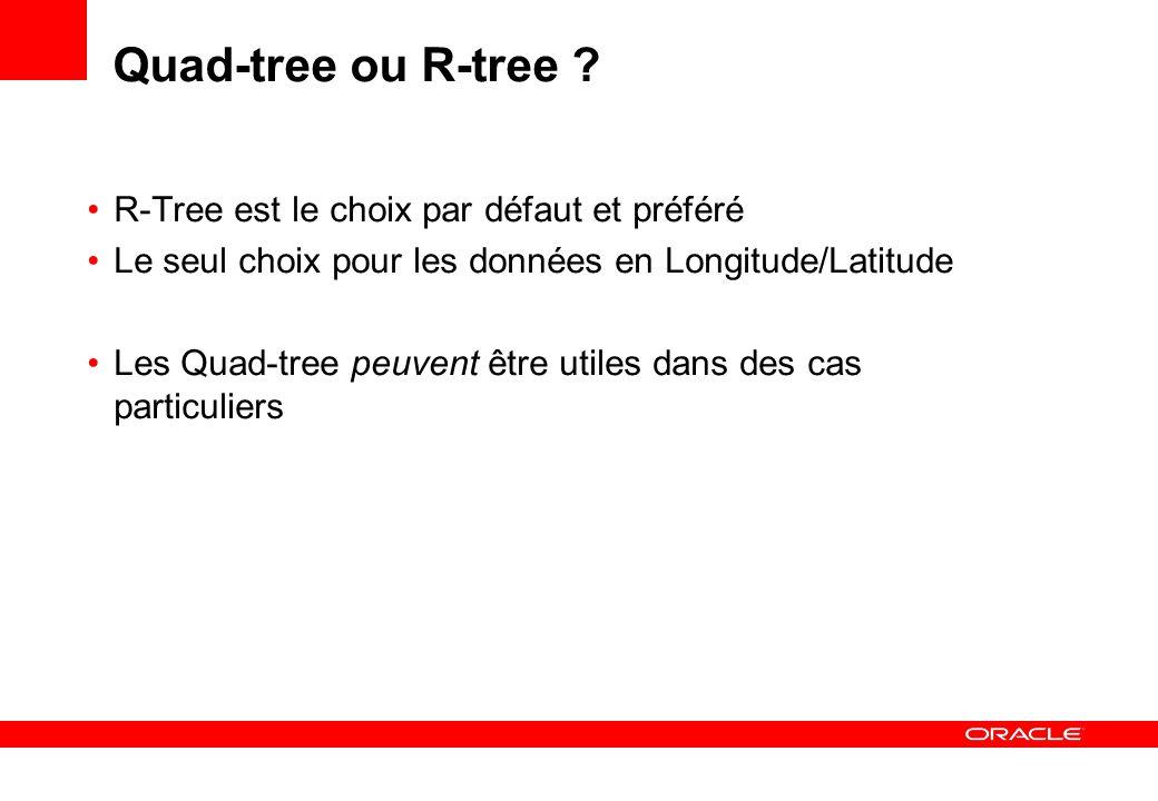 Quad-tree ou R-tree ? R-Tree est le choix par défaut et préféré Le seul choix pour les données en Longitude/Latitude Les Quad-tree peuvent être utiles
