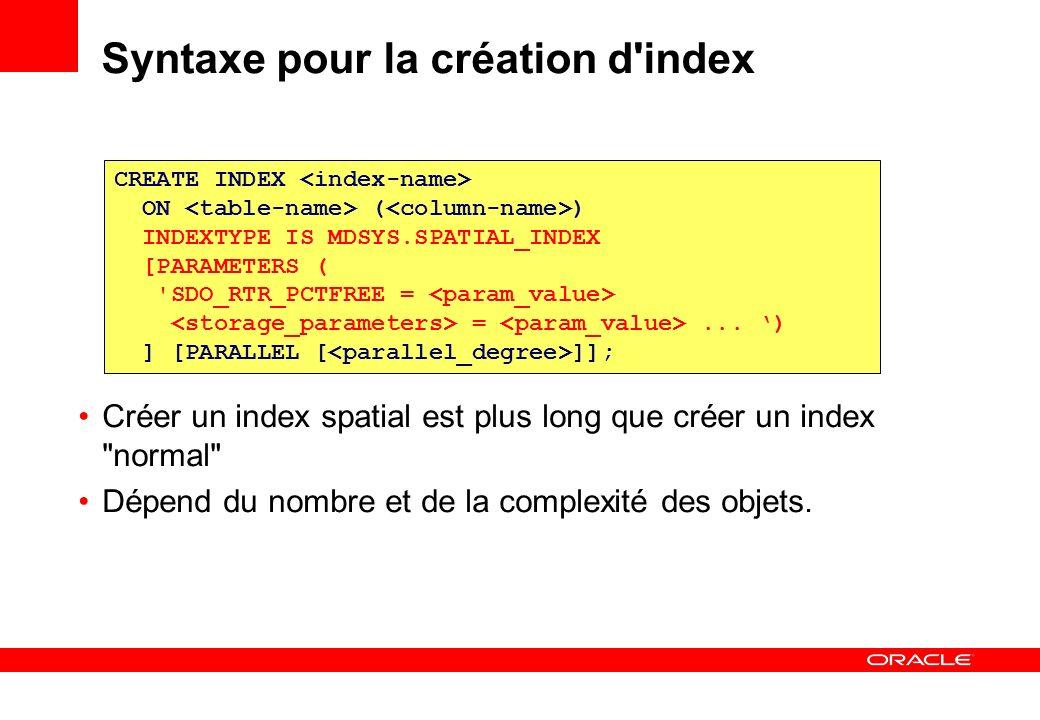 DROP INDEX La création d un index spatial n est PAS une opération atomique En cas d échec lors de la création, il faut d abord détruire l index existant avant de relancer la création Si cette destruction est refusée, utilisez la FORCE.