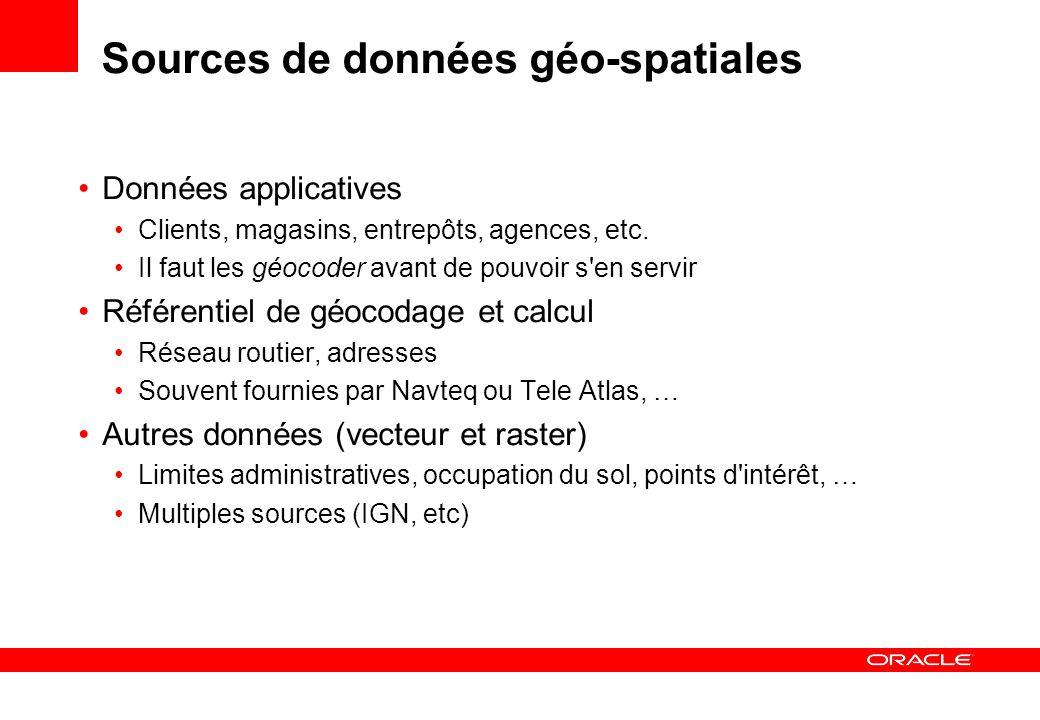 Sources de données géo-spatiales Données applicatives Clients, magasins, entrepôts, agences, etc. Il faut les géocoder avant de pouvoir s'en servir Ré