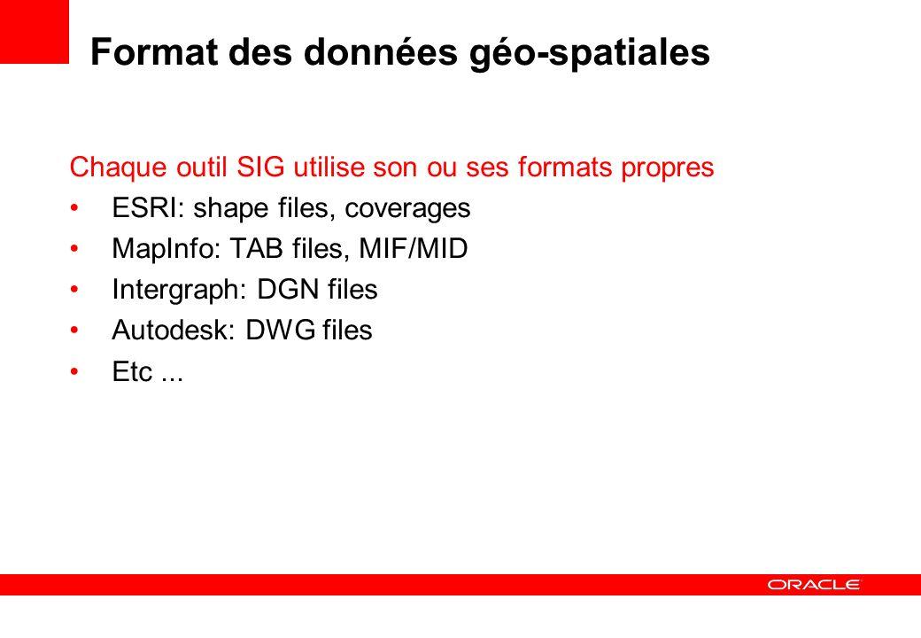 Chargement des données Géo-spatiales Au moyen des outils fournis avec les outils SIG Au moyen d outils génériques FME (Safe Software) http://www.safe.comhttp://www.safe.com CITRA (CISS TDI) http://www.ciss.de/http://www.ciss.de/ Pour les fichiers SHAPE: convertisseur SHP2SDO Oracle Mapbuilder Au moyen de SQL*Loader Les données doivent être formatées au préalable Charger les données avant de créer lindex spatial.