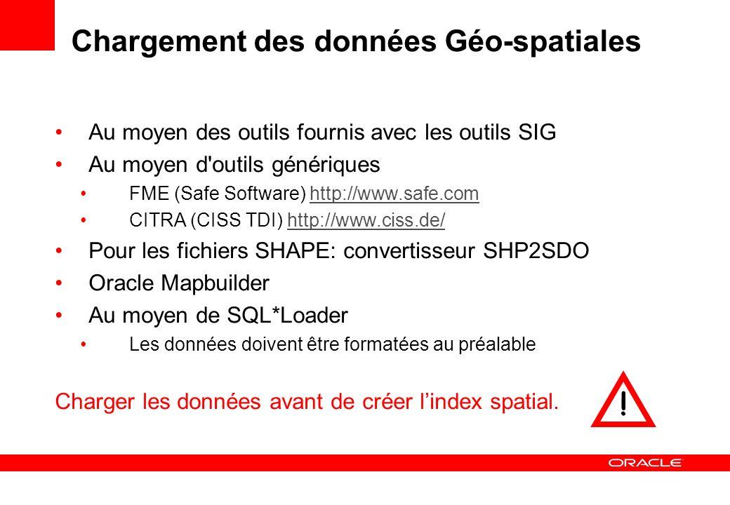 Chargement des données Géo-spatiales Au moyen des outils fournis avec les outils SIG Au moyen d'outils génériques FME (Safe Software) http://www.safe.