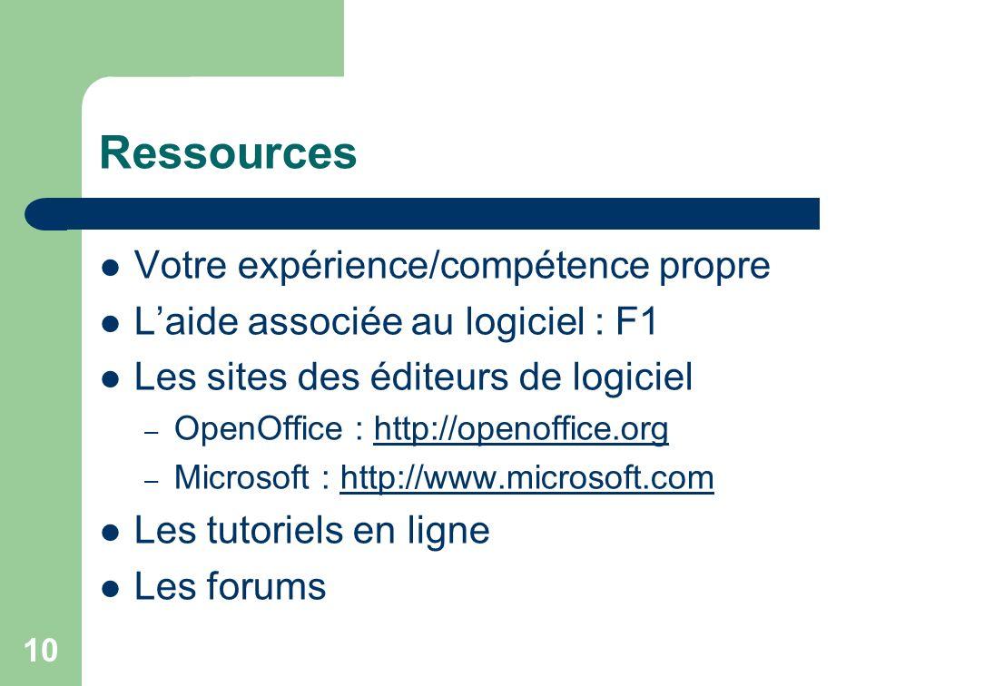 Ressources Votre expérience/compétence propre Laide associée au logiciel : F1 Les sites des éditeurs de logiciel – OpenOffice : http://openoffice.orghttp://openoffice.org – Microsoft : http://www.microsoft.comhttp://www.microsoft.com Les tutoriels en ligne Les forums 10