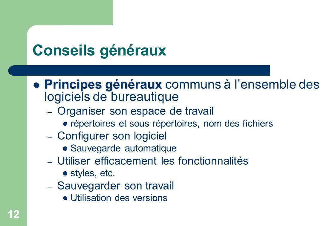 Conseils généraux Principes généraux Principes généraux communs à lensemble des logiciels de bureautique – Organiser son espace de travail répertoires
