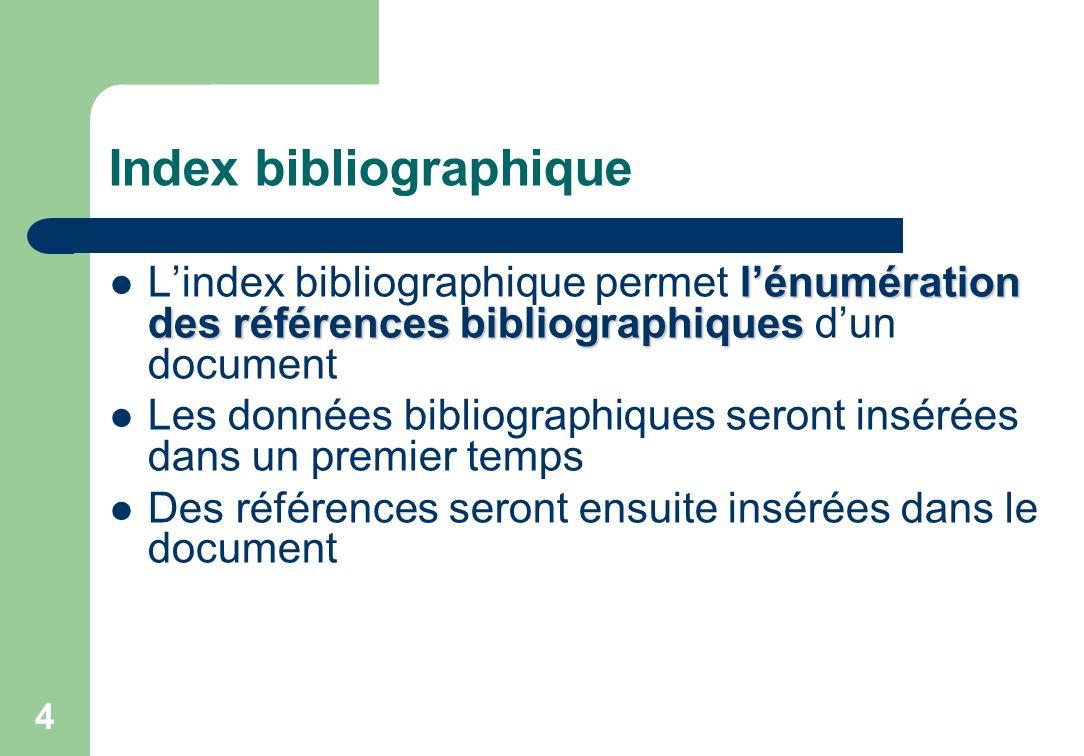 Index bibliographique lénumération des références bibliographiques Lindex bibliographique permet lénumération des références bibliographiques dun document Les données bibliographiques seront insérées dans un premier temps Des références seront ensuite insérées dans le document 4