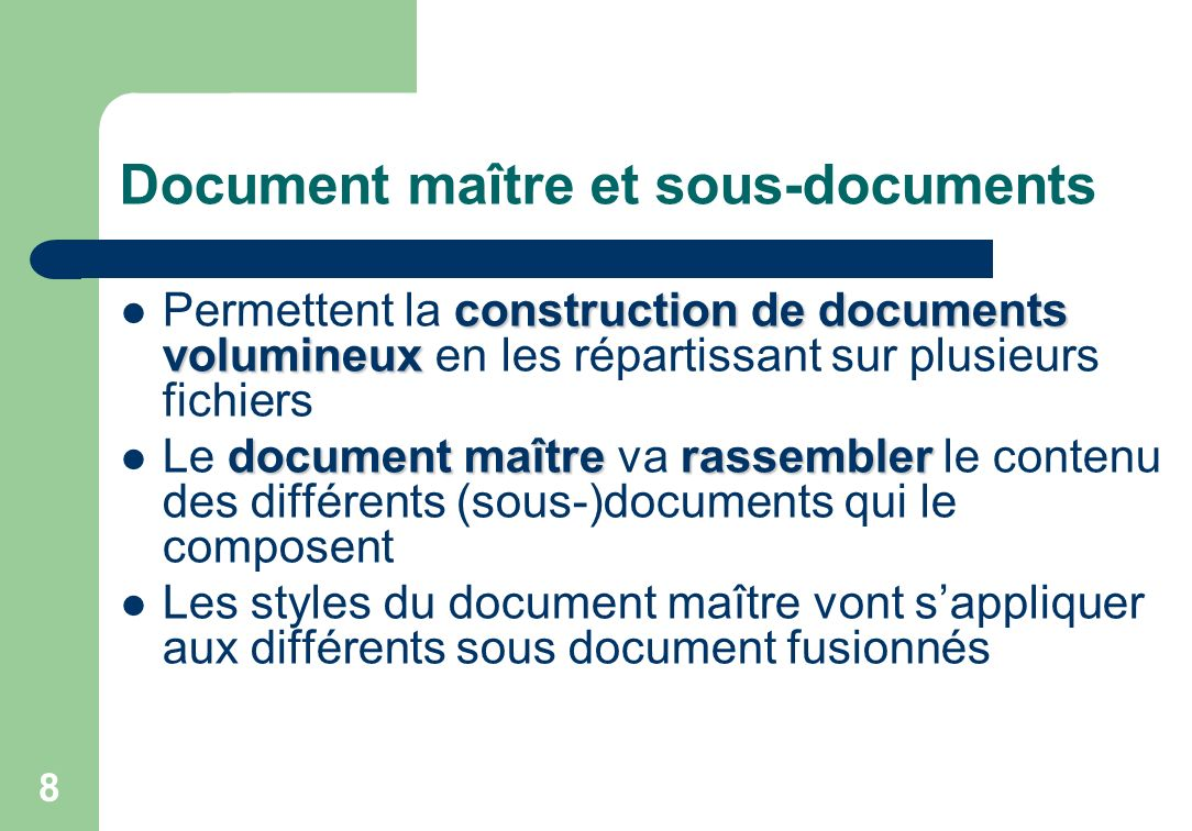 Document maitre et sous-documents Le document rassemble le contenu des sous- documents 9 Contenu 1 Un document maitre Contenu 2 Contenu 3 TM TITRE Document 1 Document 2 Document 3 Sous- document 1 Sous- document 2 Sous- document 3