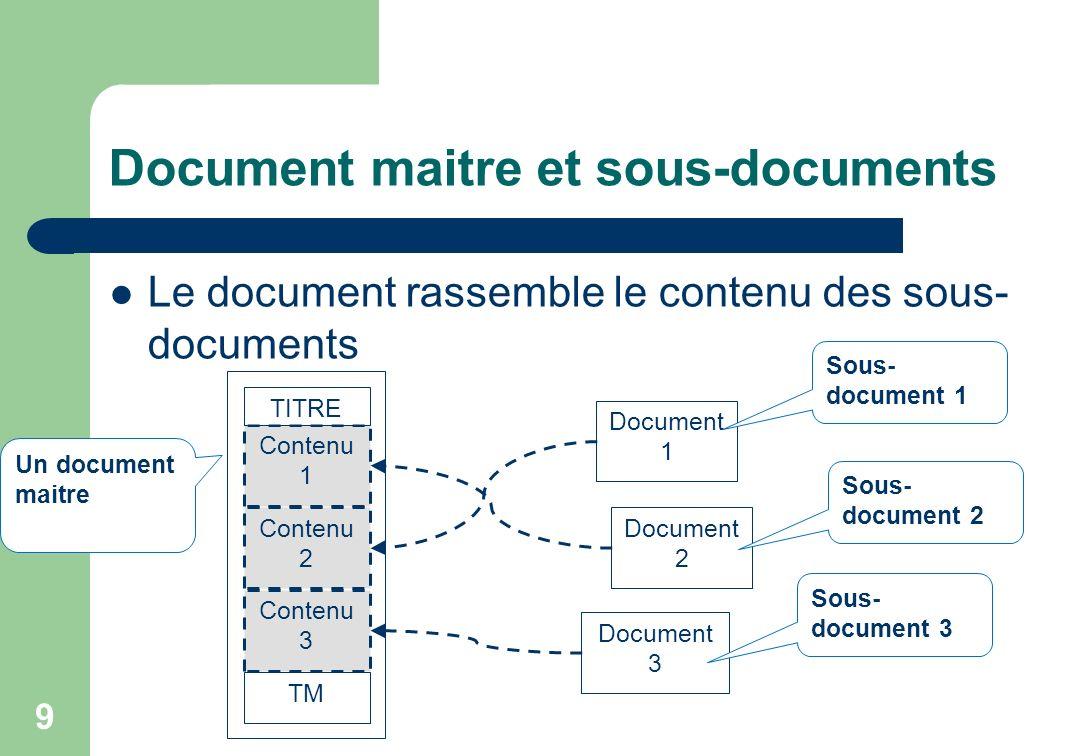 Document maitre et sous-documents Le document rassemble le contenu des sous- documents 9 Contenu 1 Un document maitre Contenu 2 Contenu 3 TM TITRE Document 1 Document 2 Document 3 Sous- document 1 Sous- document 2 Sous- document 3