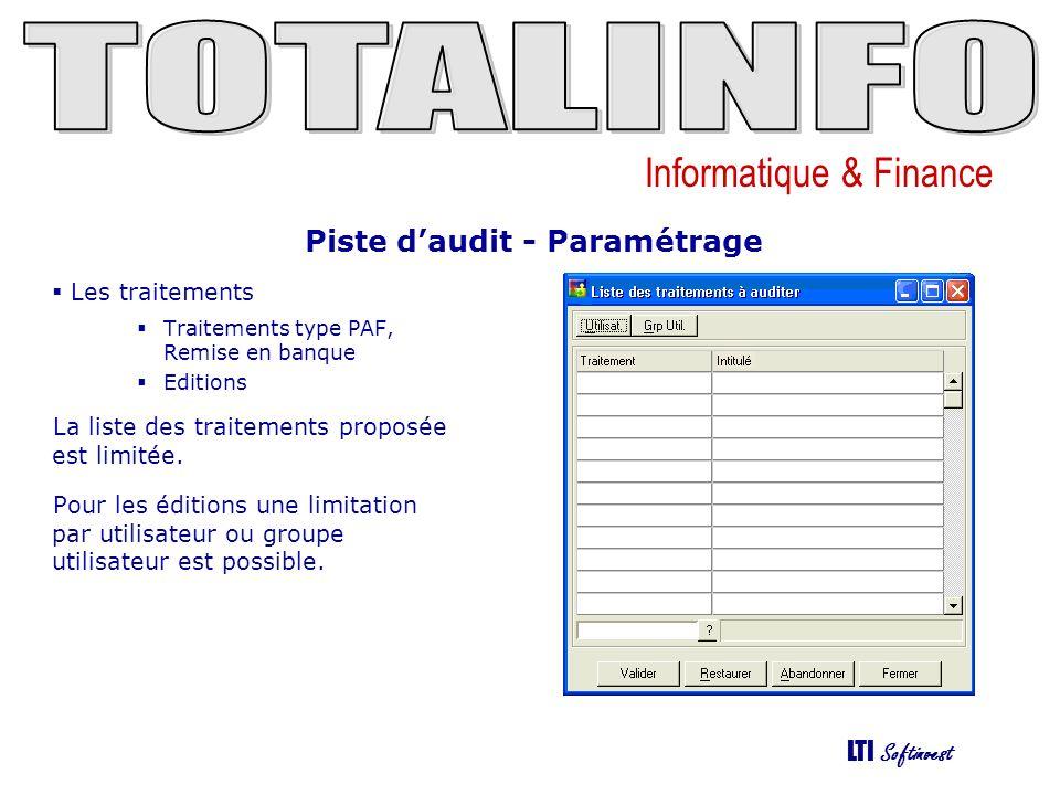 Informatique & Finance LTI Softinvest Piste daudit - Interrogation Les tables de la base de données