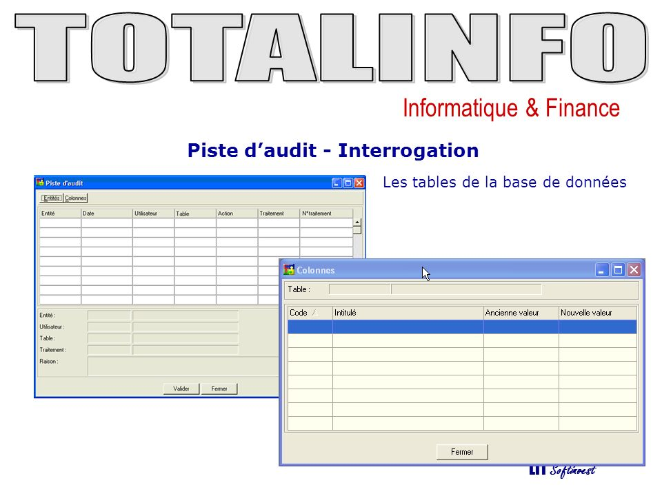 Informatique & Finance LTI Softinvest Piste daudit - Interrogation Les tables de la base de données