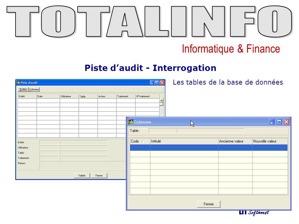Informatique & Finance LTI Softinvest Piste daudit - Interrogation Les traitements