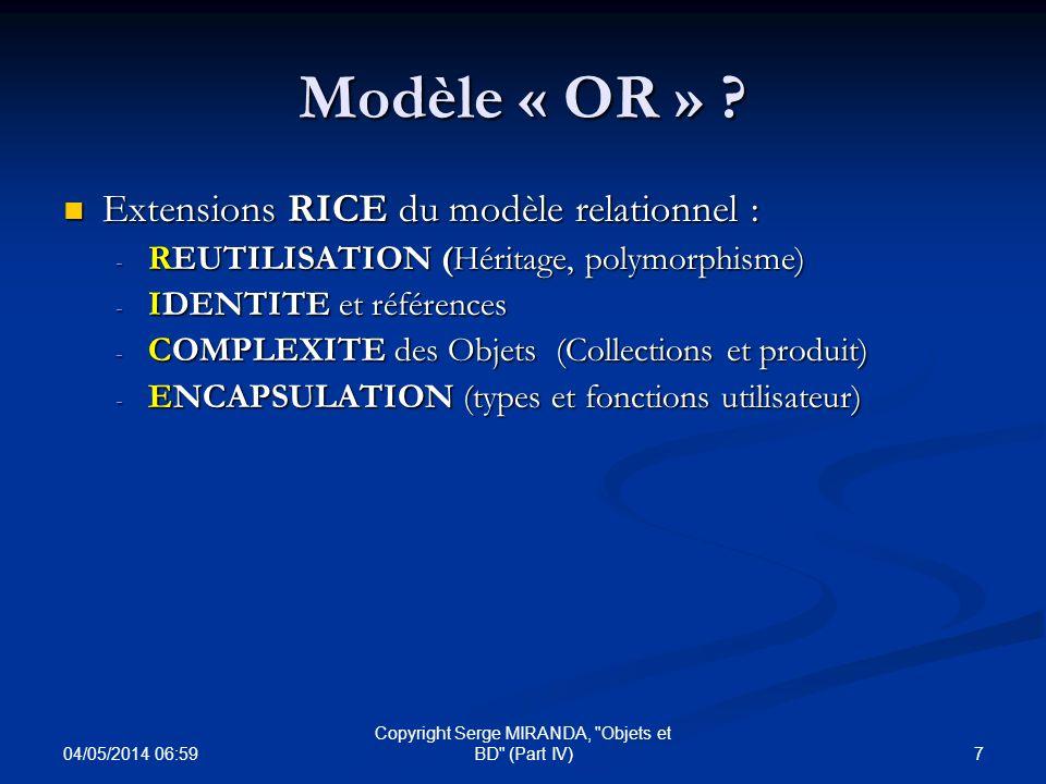 04/05/2014 07:01 78 Copyright Serge MIRANDA, Objets et BD (Part IV) Retour sur le modèle Relationnel RELVAR vs DOMAINES Un domaine comprend des valeurs de complexité arbitraire alors qu un RELVAR contient des tuples EX : Domaine DVille contient la valeur Paris alors que le Relvar RVille contient le tuple Un RELVAR n encapsule pas des valeurs à la différence des domaines