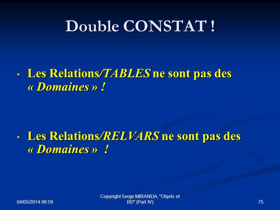 Double CONSTAT ! Les Relations/TABLES ne sont pas des « Domaines » ! Les Relations/TABLES ne sont pas des « Domaines » ! Les Relations/RELVARS ne sont