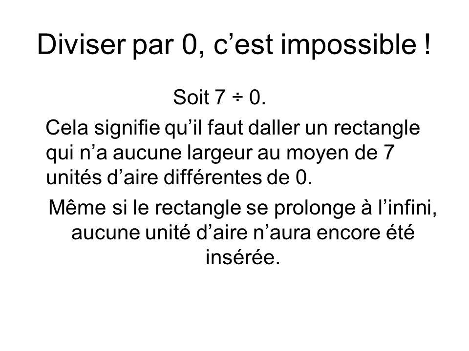 Diviser par 0, cest impossible ! Soit 7 ÷ 0. Cela signifie quil faut daller un rectangle qui na aucune largeur au moyen de 7 unités daire différentes