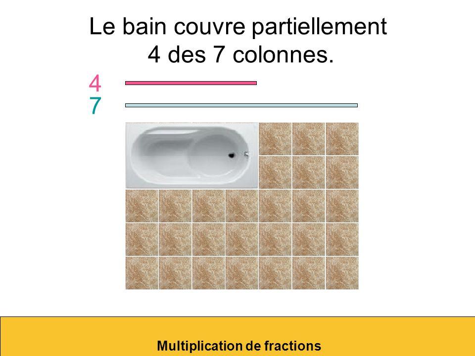 Le bain couvre exactement 8 des 35 tuiles du plancher. Multiplication de fractions 8 35