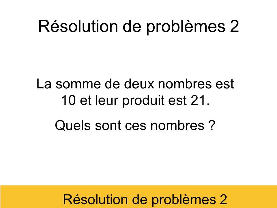 La somme de deux nombres est 10 et leur produit est 25.