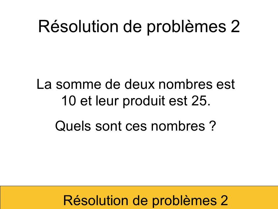 La somme de deux nombres est 10 et leur produit est 26.