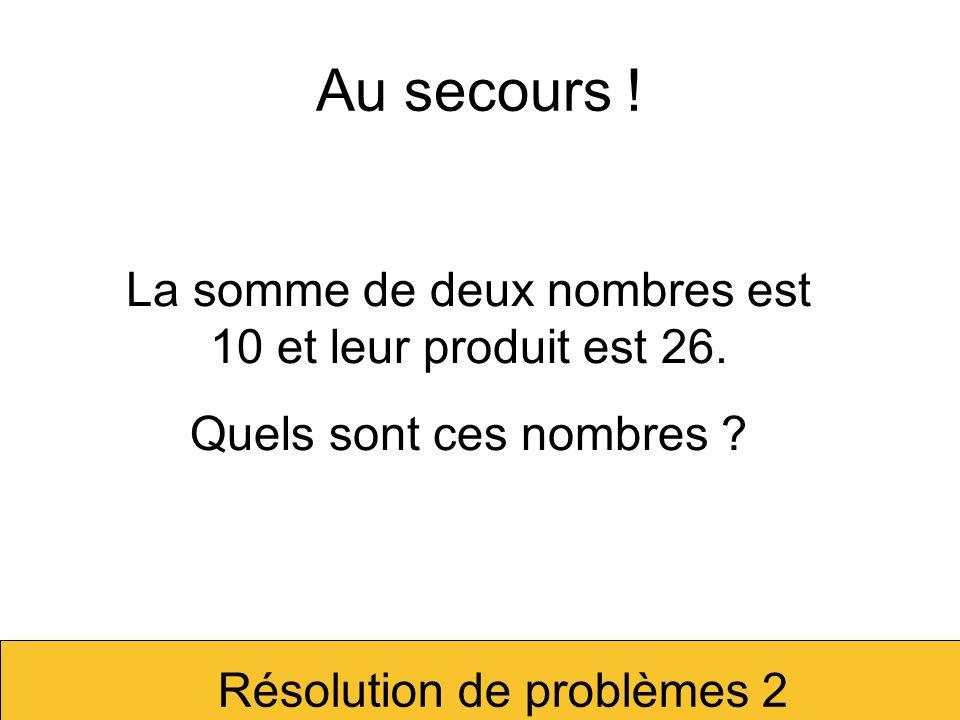Tentons dillustrer le premier problème.La somme de deux nombres est 10 et leur produit est 21.
