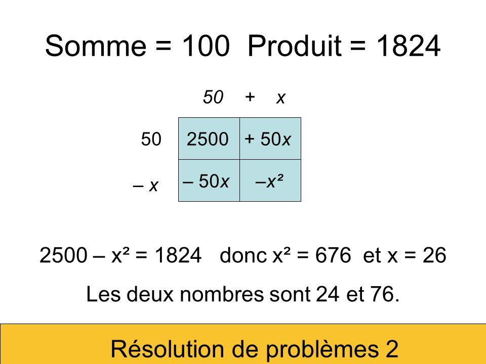 Somme = 10 Produit = 26 Résolution de problèmes 2 5 + x 5 – x 25+ 5x – 5x–x² 25 – x² = 26 donc x² = –1 et x = i.