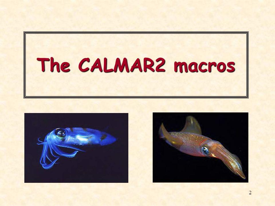 2 The CALMAR2 macros