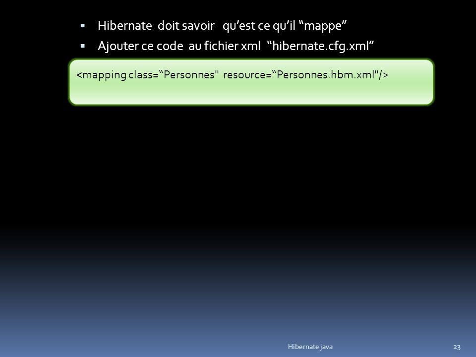 Hibernate java 23 Hibernate doit savoir quest ce quil mappe Ajouter ce code au fichier xml hibernate.cfg.xml
