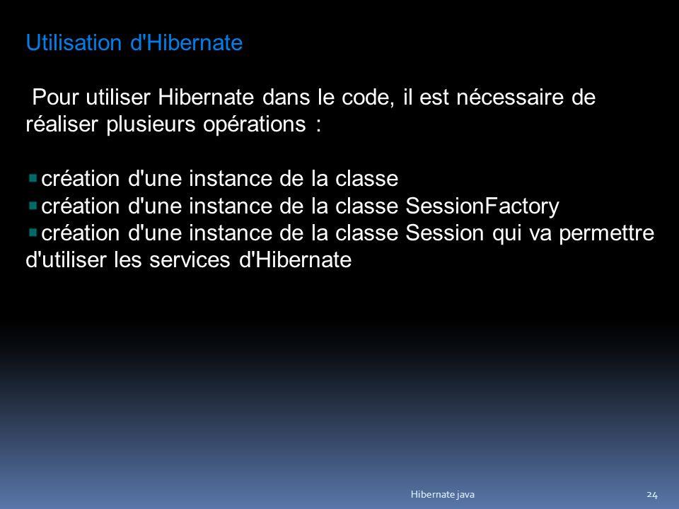 Hibernate java 24 Utilisation d Hibernate Pour utiliser Hibernate dans le code, il est nécessaire de réaliser plusieurs opérations : création d une instance de la classe création d une instance de la classe SessionFactory création d une instance de la classe Session qui va permettre d utiliser les services d Hibernate