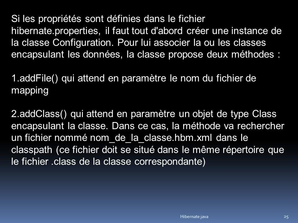 Hibernate java 25 Si les propriétés sont définies dans le fichier hibernate.properties, il faut tout d abord créer une instance de la classe Configuration.