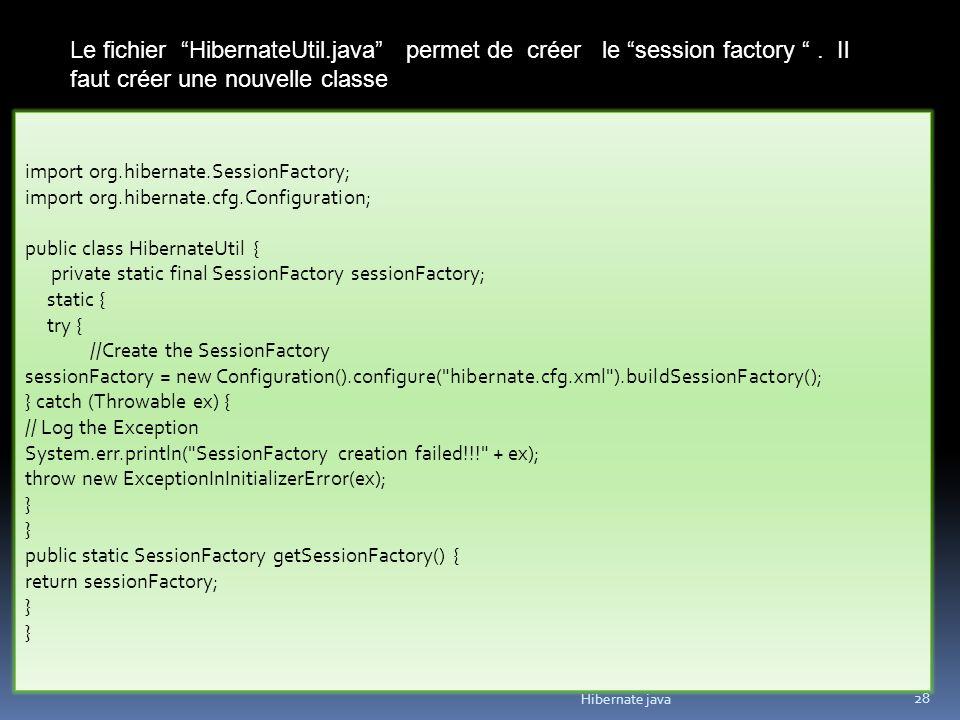 Hibernate java 28 Le fichier HibernateUtil.java permet de créer le session factory. Il faut créer une nouvelle classe import org.hibernate.SessionFact