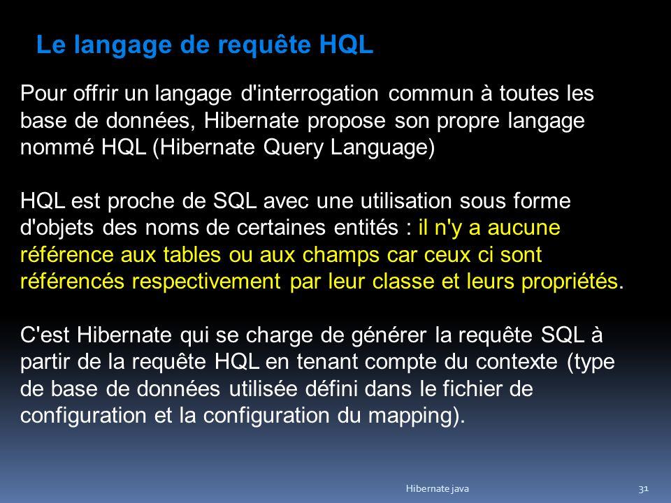 Hibernate java 31 Le langage de requête HQL Pour offrir un langage d interrogation commun à toutes les base de données, Hibernate propose son propre langage nommé HQL (Hibernate Query Language) HQL est proche de SQL avec une utilisation sous forme d objets des noms de certaines entités : il n y a aucune référence aux tables ou aux champs car ceux ci sont référencés respectivement par leur classe et leurs propriétés.