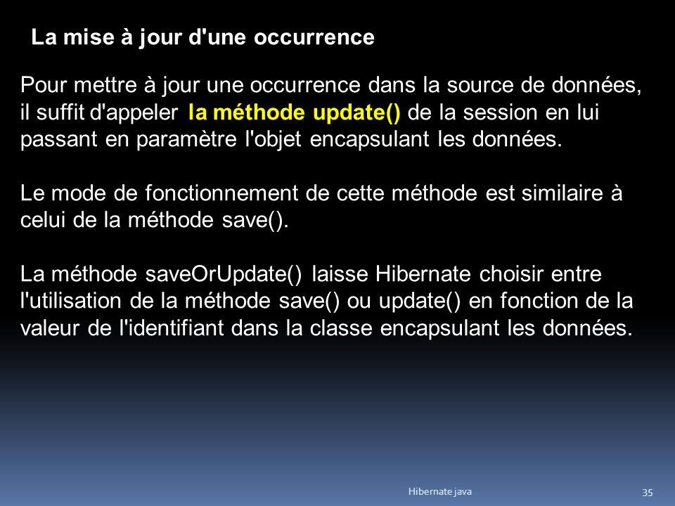 Hibernate java 35 La mise à jour d'une occurrence Pour mettre à jour une occurrence dans la source de données, il suffit d'appeler la méthode update()