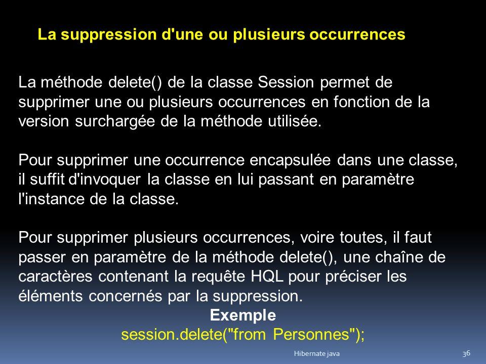 Hibernate java 36 La suppression d une ou plusieurs occurrences La méthode delete() de la classe Session permet de supprimer une ou plusieurs occurrences en fonction de la version surchargée de la méthode utilisée.
