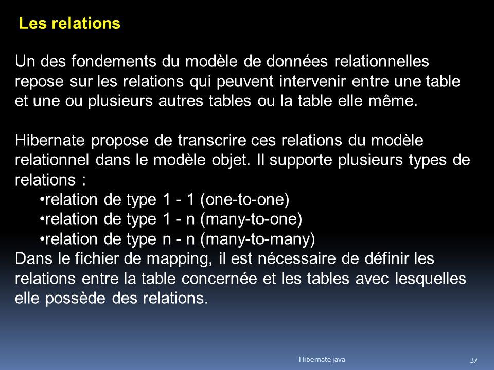 Hibernate java 37 Les relations Un des fondements du modèle de données relationnelles repose sur les relations qui peuvent intervenir entre une table et une ou plusieurs autres tables ou la table elle même.