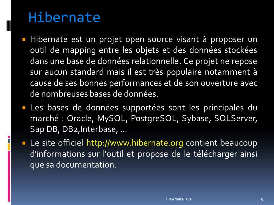Hibernate Hibernate est un projet open source visant à proposer un outil de mapping entre les objets et des données stockées dans une base de données
