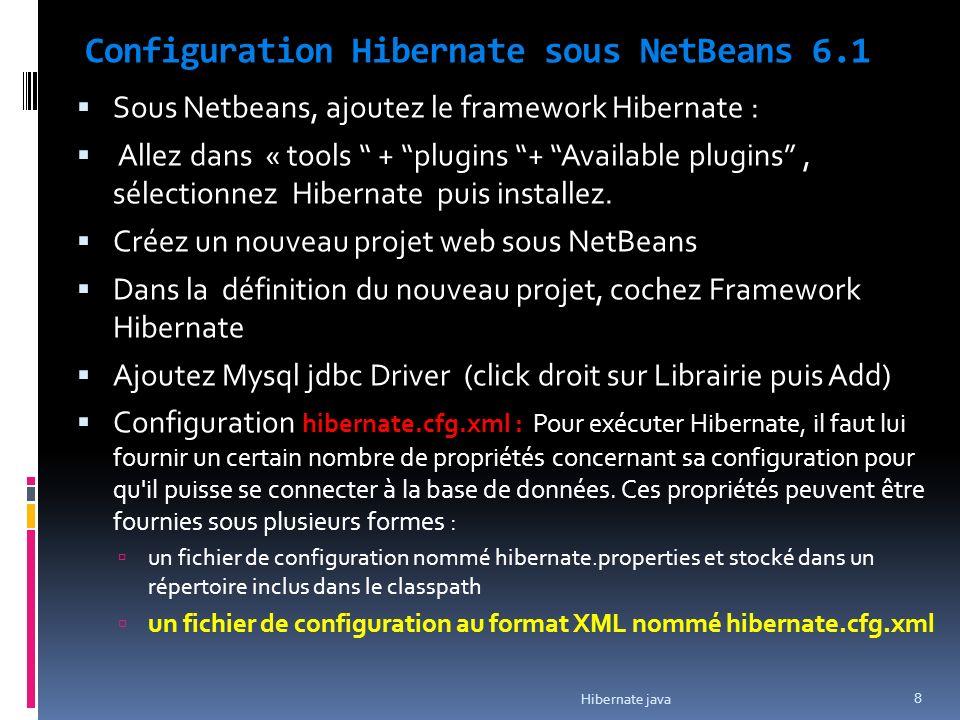 Configuration Hibernate sous NetBeans 6.1 Sous Netbeans, ajoutez le framework Hibernate : Allez dans « tools + plugins + Available plugins, sélectionnez Hibernate puis installez.