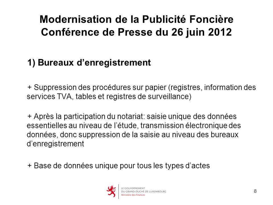 8 Modernisation de la Publicité Foncière Conférence de Presse du 26 juin 2012 1) Bureaux denregistrement + Suppression des procédures sur papier (regi