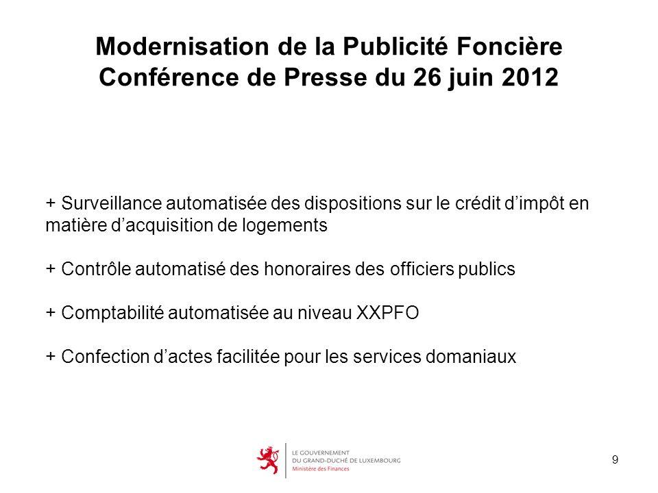 9 Modernisation de la Publicité Foncière Conférence de Presse du 26 juin 2012 + Surveillance automatisée des dispositions sur le crédit dimpôt en mati