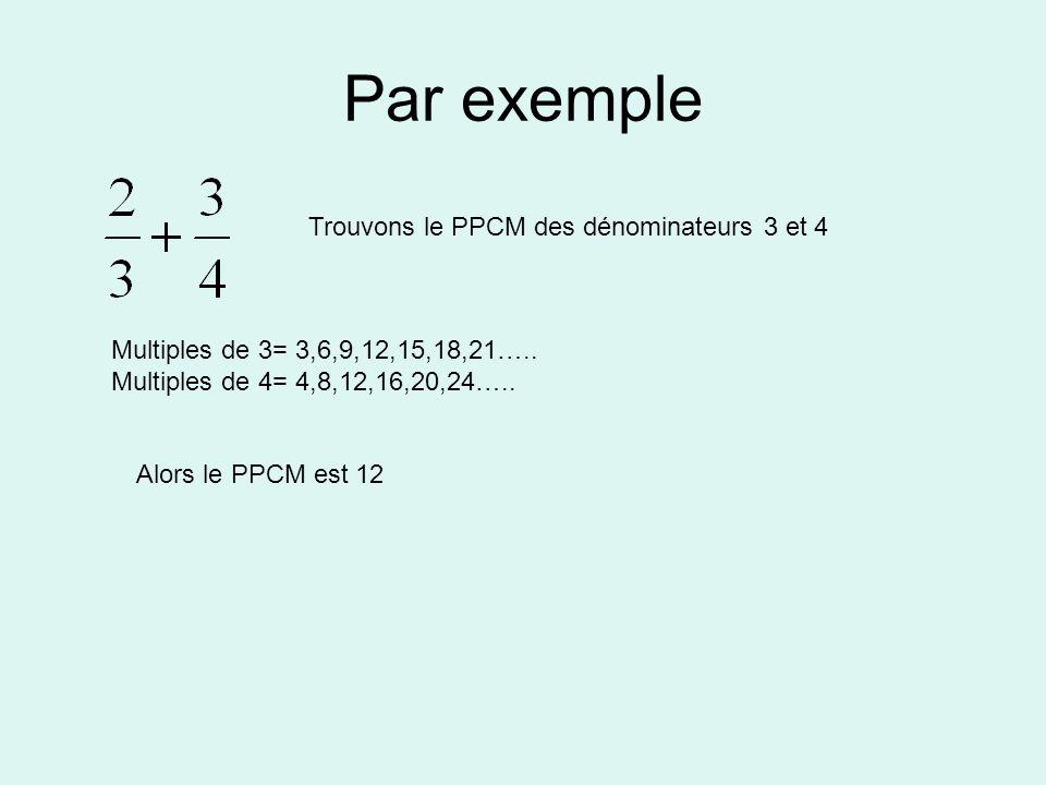 Par exemple Trouvons le PPCM des dénominateurs 3 et 4 Multiples de 3= 3,6,9,12,15,18,21….. Multiples de 4= 4,8,12,16,20,24….. Alors le PPCM est 12