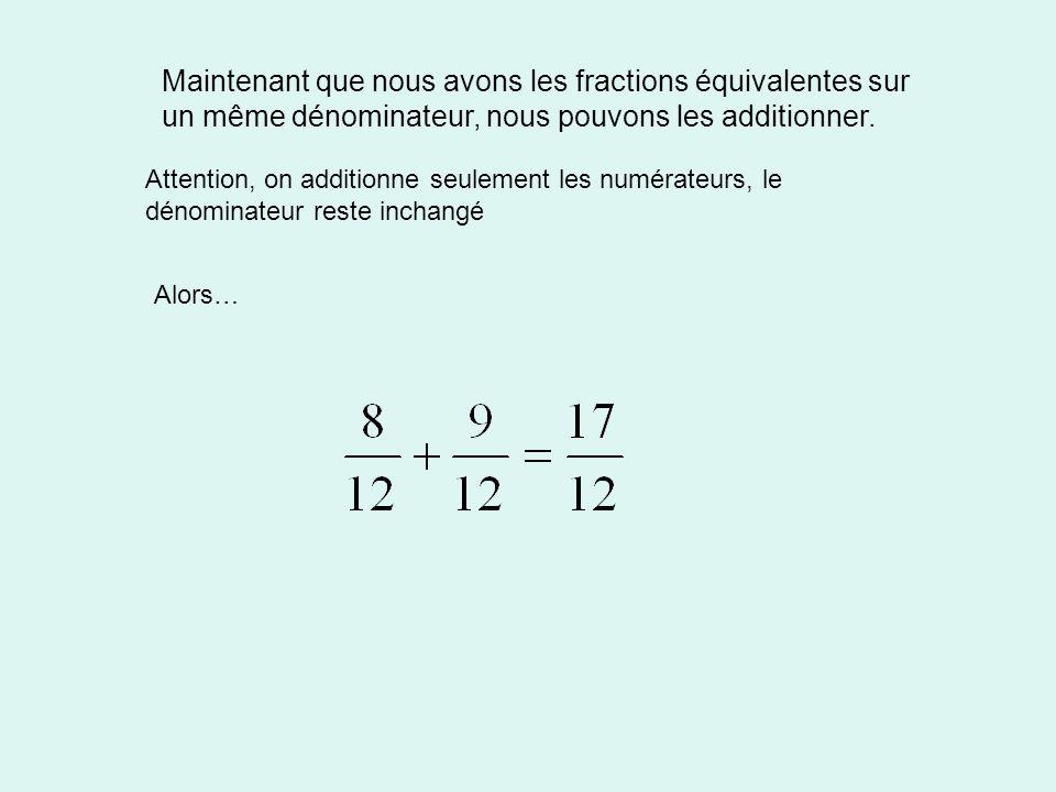 Maintenant que nous avons les fractions équivalentes sur un même dénominateur, nous pouvons les additionner.