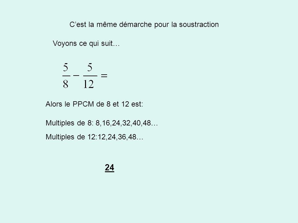 Cest la même démarche pour la soustraction Voyons ce qui suit… Alors le PPCM de 8 et 12 est: Multiples de 8: 8,16,24,32,40,48… Multiples de 12:12,24,36,48… 24