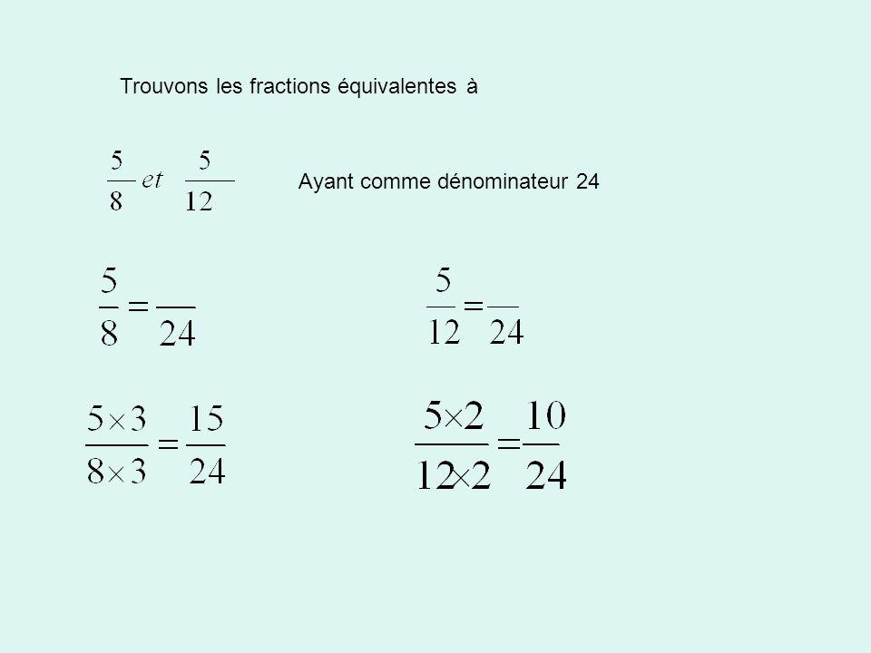 Trouvons les fractions équivalentes à Ayant comme dénominateur 24
