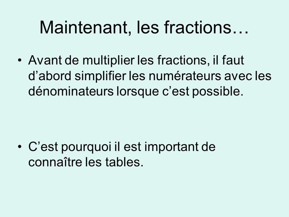 Maintenant, les fractions… Avant de multiplier les fractions, il faut dabord simplifier les numérateurs avec les dénominateurs lorsque cest possible.
