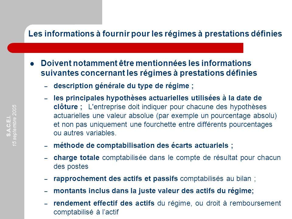 S.A.C.E.I. 15 septembre 2005 Les informations à fournir pour les régimes à prestations définies Doivent notamment être mentionnées les informations su